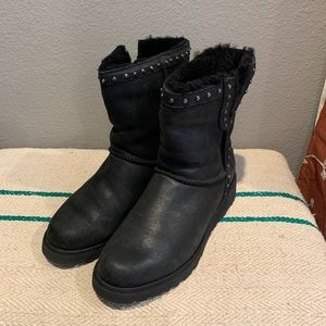 UGG Australia black wedge studded boots